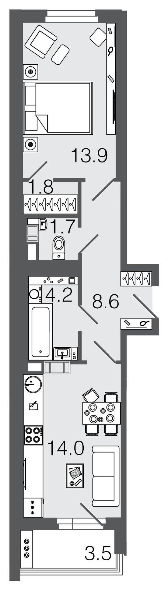 Планировка Однокомнатная квартира площадью 44.2 кв.м в ЖК ««Дом у Елагина острова»»